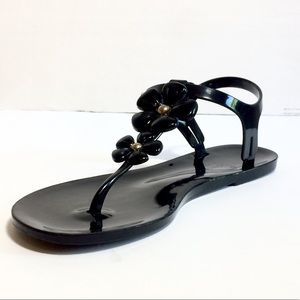 Late Spade black patent leather sandals size 8